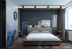 Schwarze Wand Schlafzimmer Einrichtung-Hintergrund Design Ideen ...