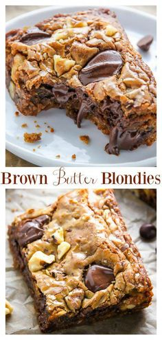 Brown Butter Walnut Chocolate Chip Blondies Ultra thick and chewy brown butter blondies loaded with toasted walnuts and plenty of chocolate chips! They're practically begging to be served with a cold glass of milk. You can also use chocolate chunks ; Köstliche Desserts, Delicious Desserts, Dessert Recipes, Yummy Food, Plated Desserts, Crepe Recipes, Chocolate Chip Blondies, Chocolate Chips, Chocolate Recipes
