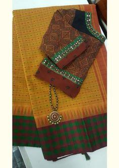 Mustard cotton with checks silk border saree Sari Blouse Designs, Designer Blouse Patterns, Cotton Blouses, Cotton Saree, Desiner Sarees, Saree Dress, Saree Blouse, Simple Sarees, Latest Designer Sarees