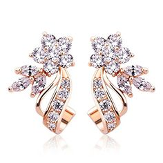 Stud Earrings For Women Girl Rose Gold Plated Copper Flower CZ Wedding Birthday Gifts For Wife Girlfriend *** Visit the image link more details.-It is an affiliate link to Amazon.