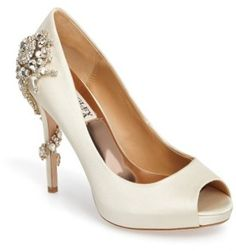 d7e16408cae1bb Gorgeous white wedding bride shoes! Women s Badgley Mischka  Royal  Crystal  Embellished Peeptoe Pump