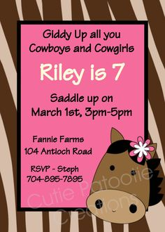 Cowgirl Birthday Invitation Cowgirl by CutiesTieDyeBoutique, $15.00