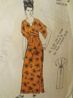 Vintage Polynesian 155 Sewing Pattern, Muu Muu, 1970s Dress Pattern, Hawaiian Dress, Obi Dress, Tie Back, Bust 31, Vintage Sewing Supply