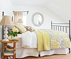 Linen White + Sunny Yellow + Dove Gray  White is a go-to choice for bedrooms because of its soothing, simple properties. In this cheery space, the neutral goes cottage, with splashes of yellow on the bedding and plenty of style-specific accents, such as the wrought-iron bed and eclectic gathering of accessories. Hints of gray keep the color palette fashion-forward.