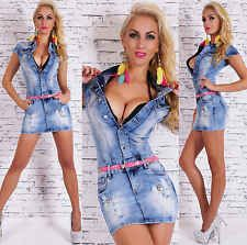 Womens Ladies denim mini dress with stud decorations + Belt Sizes UK 4 6 8 10 12