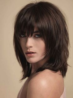 Natural brown shag haircut.