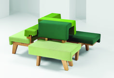 Makkink & Bey's WorkSofa collection is a series of modular benches in gradient hues that can be grouped for presentations or casual meetings.