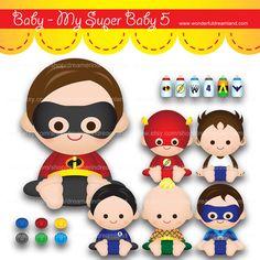 Superhero Baby Boys 5 - PDF PNG Instant Download Printable Cliparts Clip Arts Digital File Scrapbooking kit