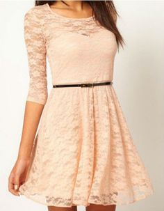 Beige casual lace dress. I have this exact dress in black!