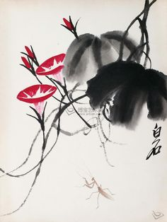 Morning Glory and Praying Mantel by Qi Baishi  When Qi Baishi began to use black ink to paint leaves, Chinese ink painting circle was stunned. Only a genius would be bold enough to come up something like this.