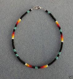 Anklets Turquoise-Black-Beaded-Anklet-Ankle-Bracelet-Native-American-Made - Seed Bead Bracelets, Seed Bead Jewelry, Ankle Bracelets, Cute Jewelry, Beaded Jewelry, Jewelry Bracelets, Handmade Jewelry, Diy Jewelry, Handmade Bracelets