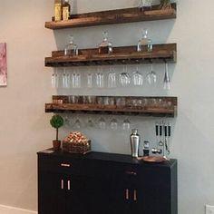 Bar Shelves, Wall Mounted Shelves, Wooden Shelves, Wood Wine Racks, Wine Rack Wall, Wine Glass Holder, Hanging Wine Glass Rack, Home Bar Designs, Layout