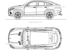 Mercedes-Benz GLC Coupe - CAD Blocks, free dwg file. Lowrider Drawings, Car Drawings, Mercedes E200, Mercedes Benz G Class, Mercedez Benz, Cad Blocks, Smart Car, Car Sketch, Autocad