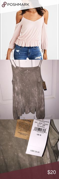 AEO soft & sexy cold shoulder crop This is BRAND NEW! Perfect condition!  Product is different color from picture above, it's a green and white tie dye! Really cute!   Feel free to ask questions, offers are welcome! ❤️ American Eagle Outfitters Tops Tees - Long Sleeve
