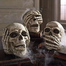 Cool idea. Find a way to make smoke or fog drift around them or through their mouths and eye sockets #indoorhalloweendecorations