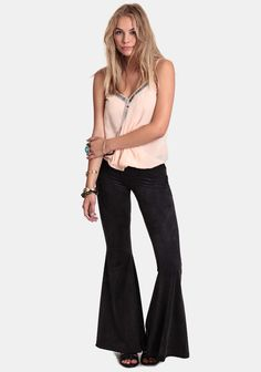 Total Darkness Faux Suede Bell Bottoms at #threadsence @threadsence