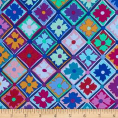 Kaffe Fassett Antwerp Flowers Blue from @fabricdotcom  Designed by Kaffe Fassett for Westminister, this cotton fabric is perfect for quilting, apparel and home decor accents. Colors include red, green, orange, teal, blue, pink and purple.