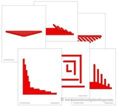 Printable pattern cards for the Montessori Red Rods.