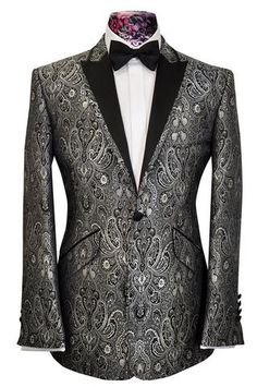 20% Off Eveningwear In-Store & Online: The Ashmore Regency Brocade Dinner Jacket in Silver.