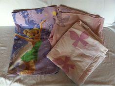 Tinkerbell Twin Size Sheet Set Flat Fitted Pillowcase Bedding Kids Beds Pink #Disney
