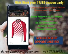 Football Teamwear? 17/18 season?We can guide your Future! All budgets-multi options-Team/Training/Leisure wear-Sponsorship Opportunities!