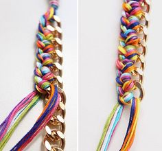 DIY Double-Wrapped Braided Chain Bracelet – Why Don't You Make Me? Bracelet Crafts, Jewelry Crafts, Handmade Jewelry, Beaded Bracelets, Diamond Bracelets, Bangles, Necklaces, Bijoux Diy, Fabric Jewelry