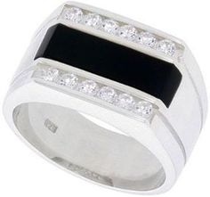 Mens Silver Ring With Rectangular Black Onyx