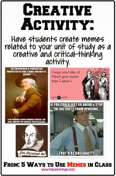 Have your students create a meme relating to your unit of study. Great idea for an assignment, project, or formative assessment! Critical Thinking Activities, Teaching Strategies, Creative Activities, Teaching Tools, Teaching Ideas, Classroom Memes, School Classroom, Classroom Ideas, Google Classroom