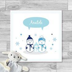 Faire-part naissance garçon, hiver, bonhomme de neige, bleu