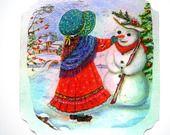 Carte de voeux et son enveloppe décorée style Sarah Kay. : Cartes par matt-et-les-petits-cadeaux