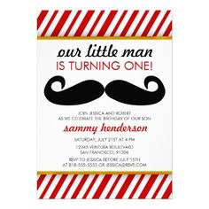 Mustache Boy Birthday Invite - in pretty stuck on the monster theme bc calebs bday is in October but this is really cute