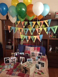 Super birthday surprise boyfriend diy gift for men Ideas Birthday Room Surprise, Birthday Surprise Boyfriend, Birthday Cards For Boyfriend, 18th Birthday Party, Girlfriend Birthday, Birthday Surprises, Birthday Ideas, Birthday Snacks, Birthday Quotes