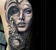 Realistic black and gray tattoo of Muerte by Proki Tattoo