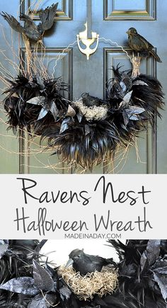 Ravens Nest Halloween Wreath, crows nest, crow wreath, #halloween, Feather wreath, hoop wreath, birds nest wreath, Halloween, Halloween decorations via @madeinaday