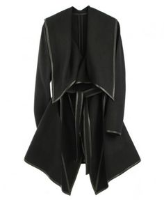 Black Lapel and Draped Hem Coat with Waistband and Leather Trim