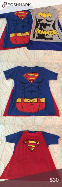 His & Hers Halloween costume! A Halloween costume - his & hers! Includes: 1) men's size Medium superman t shirt with detachable red cape (with Velcro) & 2) women's size Medium batman t shirt with detachable blue cape (with Velcro). Worn once for a Halloween costume! In great condition! Would rather sell as a set but can also sell individual items if interested! Superman Shirts Tees - Short Sleeve