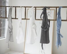 Aprons left to right: Sara Mouse Grey, Brodery, White, Dark Grey, Jeans Linen Bedroom, Wardrobe Rack, Dark Grey, Grey Jeans, White White, Fabric, Furniture, Aprons, Home Decor