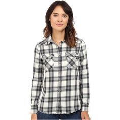 Billabong Flannel Frenzy Top (White Cap) Women's Long Sleeve Button Up ($17) ❤ liked on Polyvore featuring tops, blue, white shirt, collared shirt, long sleeve button down shirts, white long sleeve shirt and flannel shirt