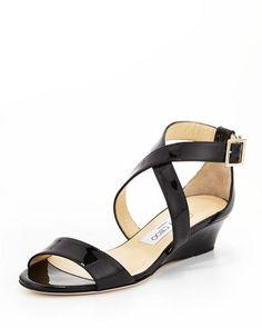 Chiara Demi-Wedge Crisscross Sandal Black Wedge Sandals 08f4bdda1c61b