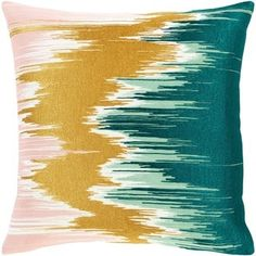 Lena Modern Hand-Embroidered 20-inch Throw Pillow Cover (Teal), Green(Cotton, Abstract)