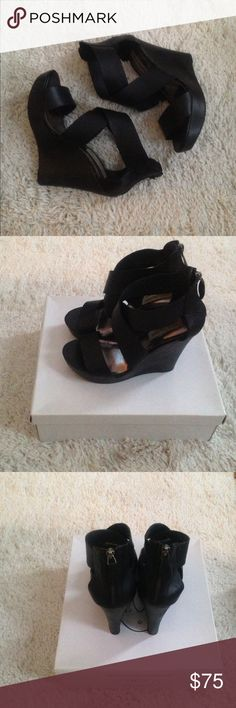 Steve Madden black leather criss cros wedge sandal Steve Madden black leather criss cross wedge sandals. Super high and sexy. Box included if wanted. Zipper back. Only worn 2x. Steve Madden Shoes Wedges