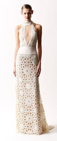 Naeem Khan Pre-Fall 2014 crochet gown make it short and add long fringe