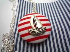 Little Ship Red Button Necklace by Jones F Button Necklace, Washer Necklace, Red Button, Beach Bum, Peeps, Nautical, Jewelry Making, Bows, Fancy