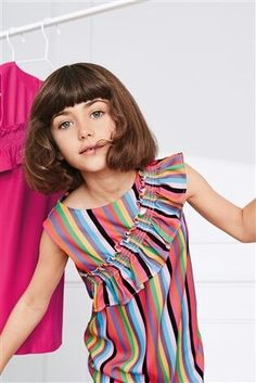 Buy Stripe Ruched Shift Dress from the Next UK online shop Beach Wear Dresses, Girls Dresses, Young Fashion, Kids Fashion, Casual Frocks, Flower Girl Gown, Kids Outfits, Cute Outfits, Junior Fashion