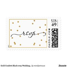 Gold Confetti Black rsvp Wedding Postage Great for parties, weddings, showers, and more! Elegant and on trendy with stylish weddings.