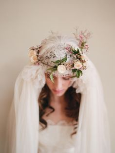 Veil and Floral Headpiece.
