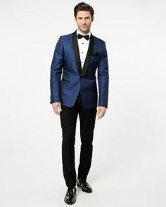 Tonal Jacquard Slim Fit Blazer - A contrasting shawl collar defines a handsome jacquard blazer finished in slim fit for an impeccably tailored look. Mode Glamour, Look Cool, Formal Wear, Suit Jacket, Handsome, Slim, Blazer, Stylish, Sweaters
