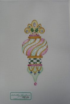 HAND-PAINTED NEEDLEPOINT Pink and Green Ornament by STRICTLY CHRISTMAS