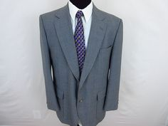 Stafford Blazer Sport Coat Jacket  Men's Two Button Solid Gray Size 44R Wool #Stafford #TwoButton