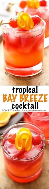 This easy to make Tropical Bay Breeze Cocktail is a taste of the tropics with flavors of pineapple and coconut rum. (Plus the easy trick to making ANY drink perfectly layered)! Best Party Appetizers, Easy Party Food, Party Food And Drinks, Party Snacks, Party Recipes, Bay Breeze Cocktail, Adult Camping Party, Malibu Drinks, Malibu Rum